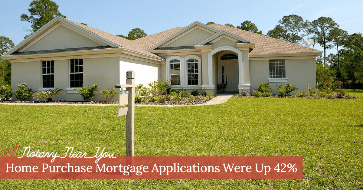 Home Purchase Mortgage Applications up 42% in December 2020 compared to Prior Year