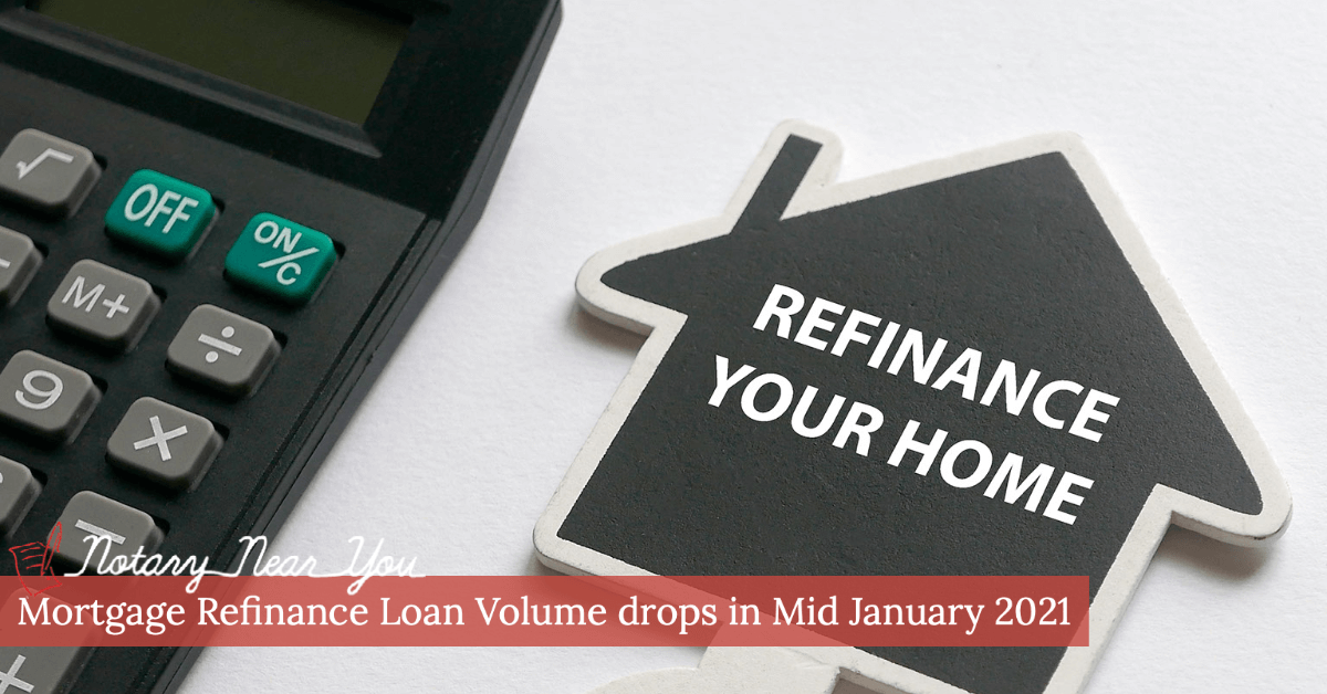 Mortgage Refinance Loan Volume drops in Mid January 2021